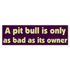 Bad Owner Pit Bull Bumper Bumper Sticker