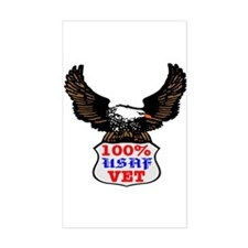 100% USAF Vet Eagle Rectangle Decal
