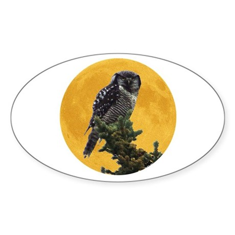 Owl and Moon Oval Sticker