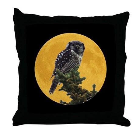 Owl and Moon Throw Pillow