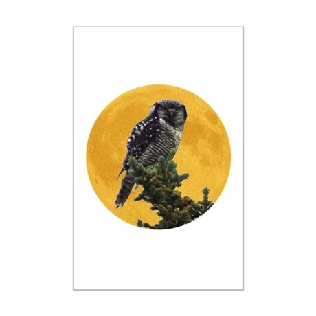 Owl and Moon Mini Poster Print