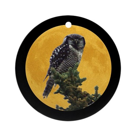 Owl and Moon Ornament (Round)