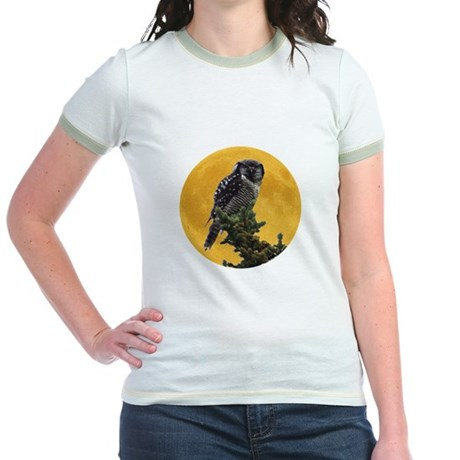 Owl and Moon Jr. Ringer T-Shirt