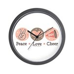 Peace Love Cheer Cheerleader Wall Clock