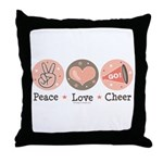 Peace Love Cheer Cheerleader Throw Pillow