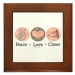 Peace Love Cheer Cheerleader Framed Tile