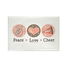 Peace Love Cheer Cheerleader Rectangle Magnet