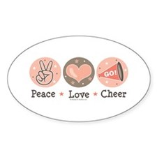 Peace Love Cheer Cheerleader Oval Decal