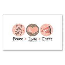 Peace Love Cheer Cheerleader Rectangle Decal