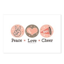 Peace Love Cheer Cheerleader Postcards 8 Pk