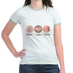 Peace Love Cheer Cheerleader Jr. Ringer T-Shirt