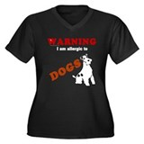 Allergic To Dogs Women's Plus Size V-Neck Dark T-S