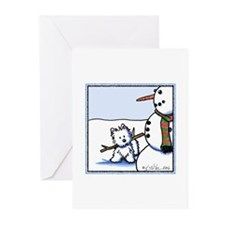 Snowman Builder Westie Greeting Cards (Pk of 20)