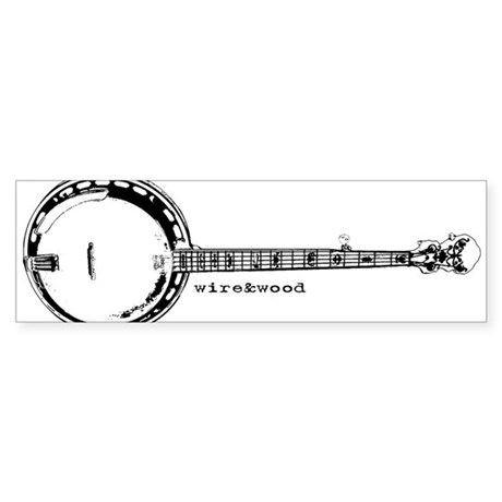 wire&amp;amp;wood Banjo Bumper Sticker