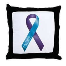 Purple/Teal Ribbon Throw Pillow