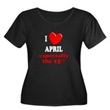 April 15th Women's Plus Size Scoop Neck Dark T-Shi