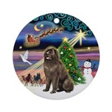 Xmas Magic & brown Newfie Ornament (Round)