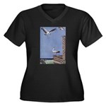 Storks Women's Plus Size V-Neck Dark T-Shirt