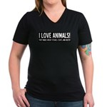 I Love Animals Women's V-Neck Dark T-Shirt