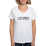 I Love Animals Women's V-Neck T-Shirt