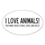 I Love Animals Oval Sticker