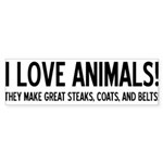 I Love Animals Bumper Sticker