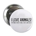 I Love Animals Button