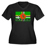 Dominica Flag Soccer Women's Plus Size V-Neck Dark