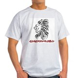 Tribal Lion back and front print Ash Grey T-Shirt
