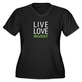 Live Love Invest Women's Plus Size V-Neck Dark T-S