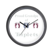 Proud Grandpa of Triplets Wall Clock