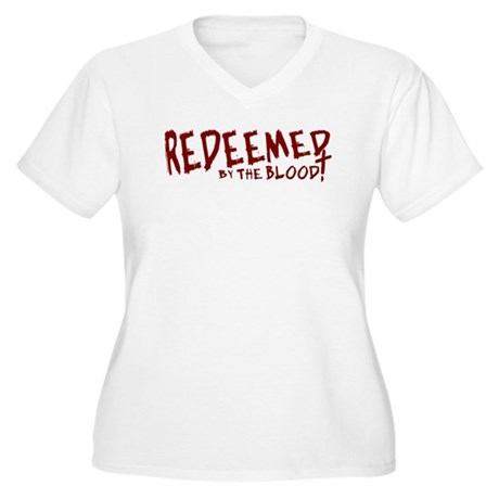 Redeemed by the Blood Women's Plus Size V-Neck T-S