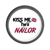 Kiss Me I'm a NAILOR Wall Clock
