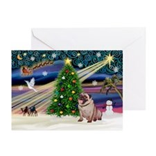 Xmas Magic & Pug Greeting Cards (Pk of 20)