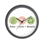Recycling Peace Love Recycle Wall Clock