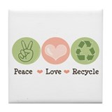 Recycling Peace Love Recycle Tile Coaster