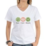 Recycling Peace Love Recycle Women's V-Neck T-Shir