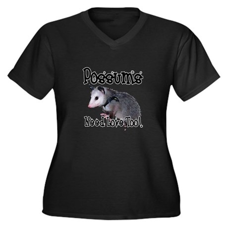 Possums Need Love Women's Plus Size V-Neck Dark T-