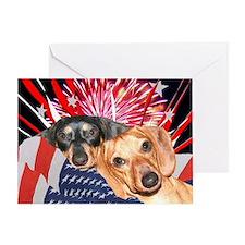 Patriotic Dachshund Dogs Greeting Card