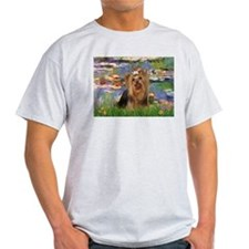 Monet's Lilies & Yorkie #7 Ash Grey T-Shirt