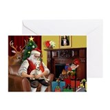Santa's Whippet (#2) Greeting Cards (Pk of 10)