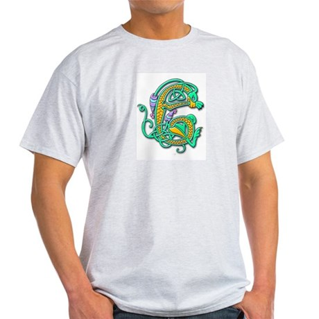 Celtic Aqua Beast (Front) Ash Grey T-Shirt
