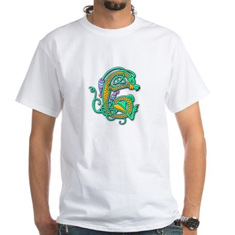Celtic Aqua Beast (Front) White T-Shirt