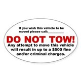 Do Not Tow Oval Sticker (5x3 inches)