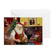 Santa's Dachshund (b) Greeting Card