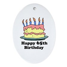 Happy 65th Birthday Oval Ornament