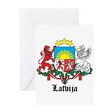 Latvia Arms with Name Greeting Card