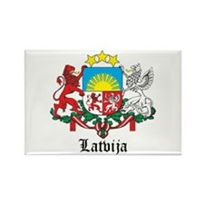 Latvia Arms with Name Rectangle Magnet (10 pack)