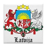 Latvia Arms with Name Tile Coaster