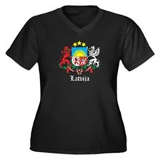 Latvia Arms with Name Women's Plus Size V-Neck Dar
